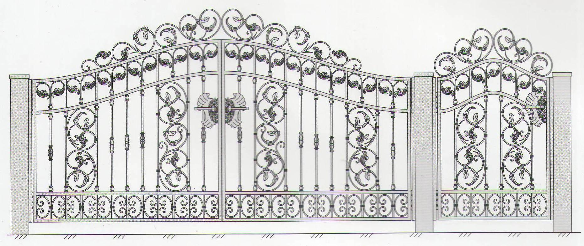 Ворота с элементами ковки своими руками чертежи схемы эскизы конструкция